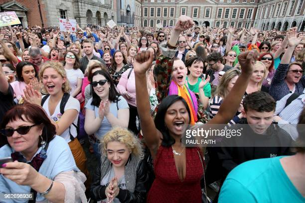 Yes campaigners jubilate as they wait for the official result of the Irish abortion referendum at Dublin Castle in Dublin on May 26 2018 Irish Prime...