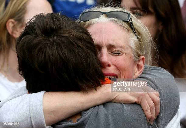 Yes campaigners react as they wait for the official result of the Irish abortion referendum at Dublin Castle in Dublin on May 26 2018 Irish Prime...