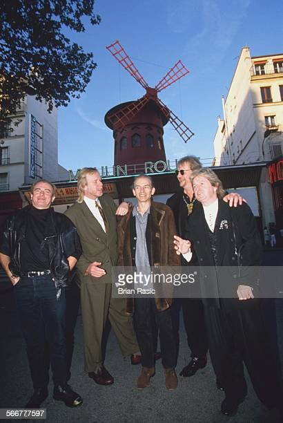 Yes In Paris France Oct 1996 Yes Alan White Rick Wakeman Steve Howe Chris Squire And Jon Anderson Outside Moulin Rouge