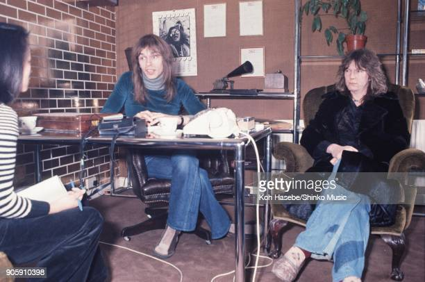 Yes interviewed by Music Life magazine at their office February London United Kingdom Chris Squire Steve Howe