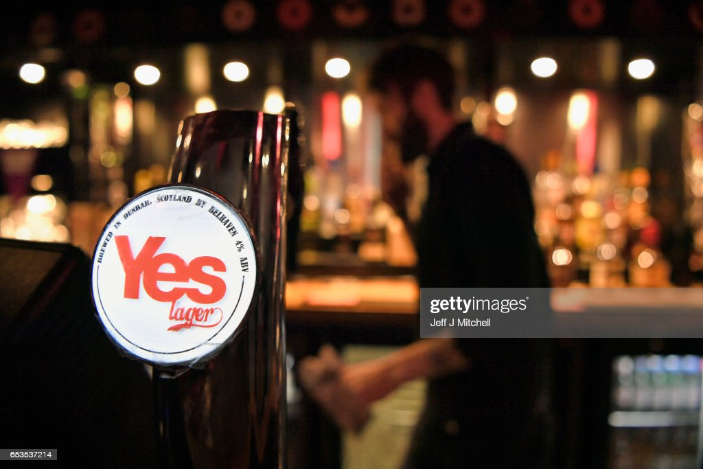 Yes lager on sale in the Yes Bar on March 15, 2017 in Glasgow, Scotland.Scotland's First Minister Nicola Sturgeon has confirmed she will ask for permission to hold a second Scottish independence referendum.