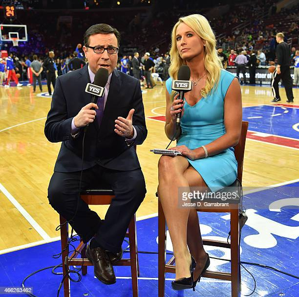 Yes Network reporters Ian Eagle Sarah Kustok talk things over prior to the Philadelphia 76ers against the Brooklyn Nets Game this will be Sarah...