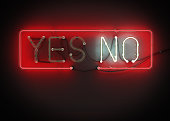 Yes or No sign made from neon alphabet.