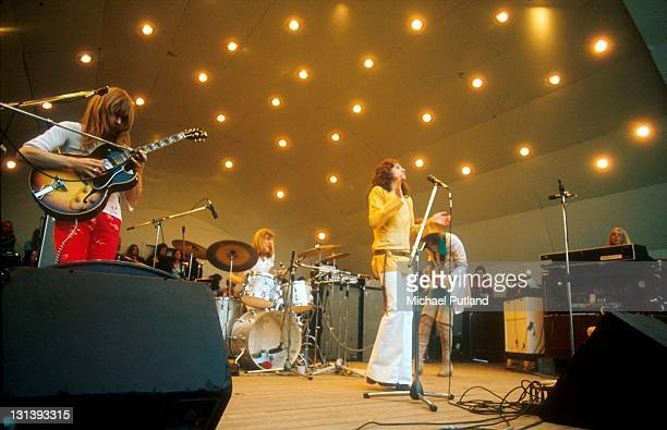 Yes perform at Crystal Palace garden party Crystal Palace London 2nd September 1972 LR Steve Howe Alan White Jon Anderson Chris Squire Rick Wakeman