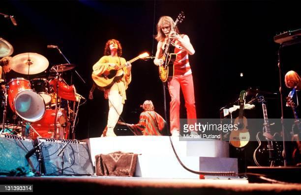 Yes perform on stage at Madison Square Garden New York September 1978 LR Jon Anderson Steve Howe Rick Wakeman