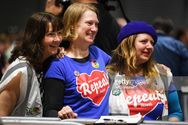 Yes supporters pose for a picture as the count in the Irish referendum on the 8th amendment concerning the country's abortion laws takes place at the...