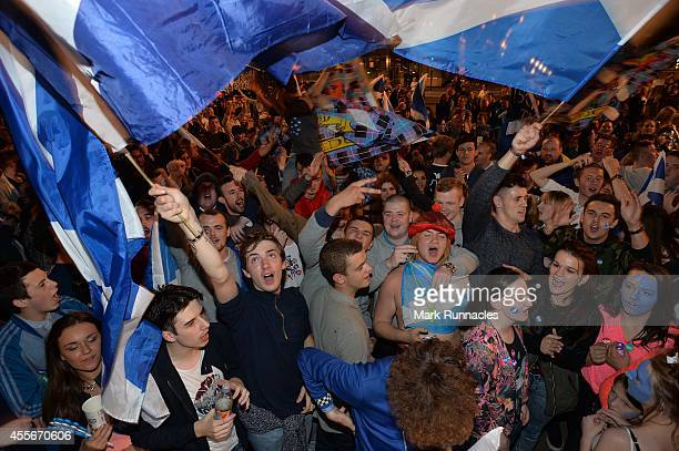 'Yes' Supporters react to the polls closing in George Square as Scotland awaits the results of the Scottish Independence referendum vote on September...