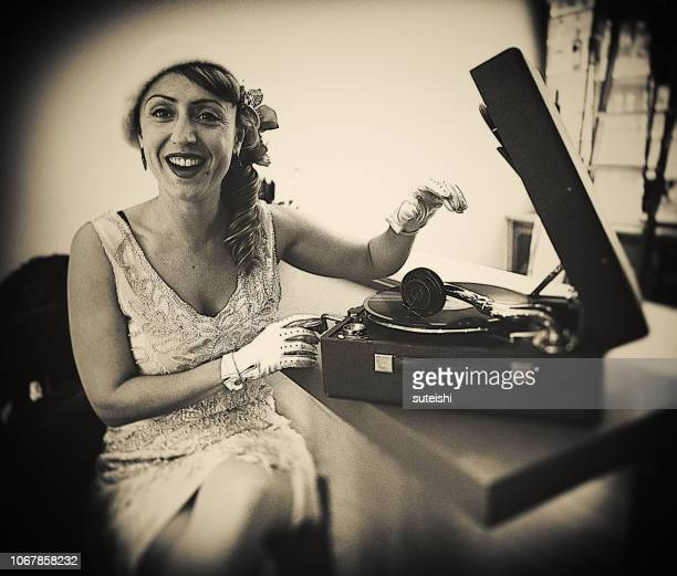 yes, this crazy music invites you to dance!!! - picture of phonograph stock photos and pictures