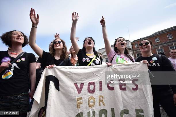 Yes vote supporters celebrate as the results in the Irish referendum on the 8th amendment concerning the country's abortion laws takes place at...