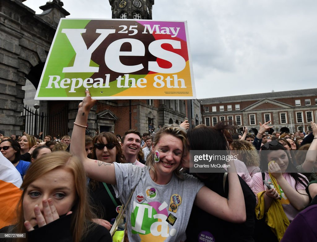 A Yes voter breaks down in tears as the result of the Irish referendum on the 8th amendment, concerning the country's abortion laws, is declared at Dublin Castle on May 26, 2018 in Dublin, Ireland. Ireland has voted in favour of overturning the abortion ban by 66.4% to 33.6%, which is a 'resounding' victory for the yes campaign.