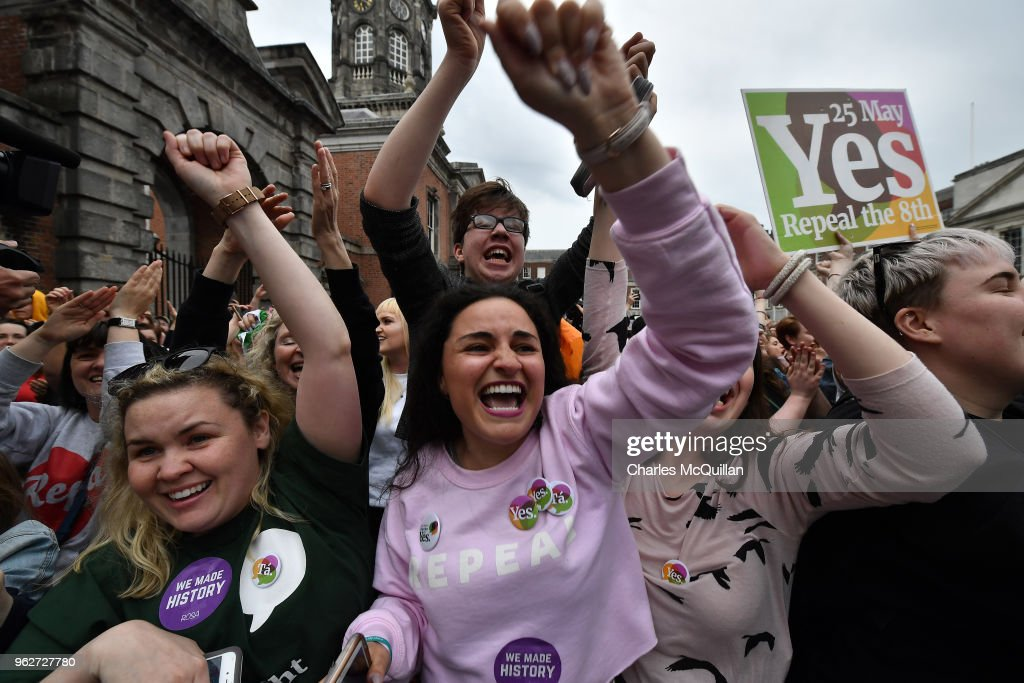 Yes voters celebrate as the result of the Irish referendum on the 8th amendment, concerning the country's abortion laws, is declared at Dublin Castle on May 26, 2018 in Dublin, Ireland. Ireland has voted in favour of overturning the abortion ban by 66.4% to 33.6%, which is a 'resounding' victory for the yes campaign.