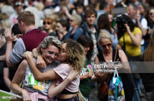 Yes voters celebrate as the result of the Irish referendum on the 8th amendment concerning the country's abortion laws is declared at Dublin Castle...