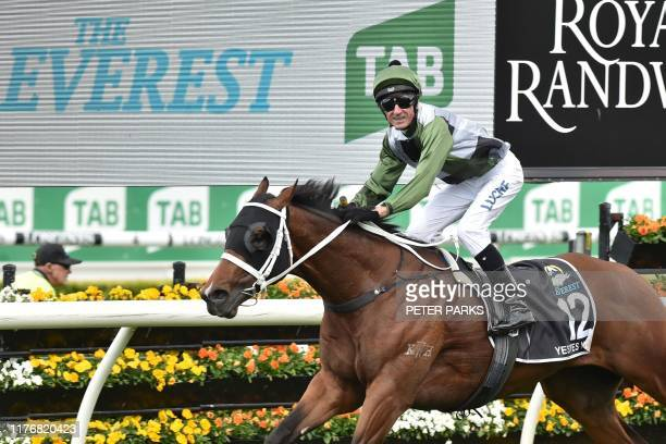 Yes Yes Yes ridden by jockey Glen Boss wins the Everest 2019 horse race at the Royal Randwick race course in Sydney on October 19 2019 Yes Yes Yes...