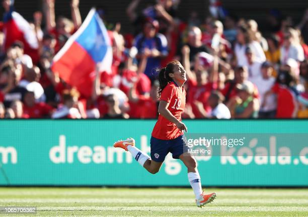 Yesenia Huenteo of Chile celebrates after scoring a goal during the International Friendly match between the Australian Matildas and Chile at...