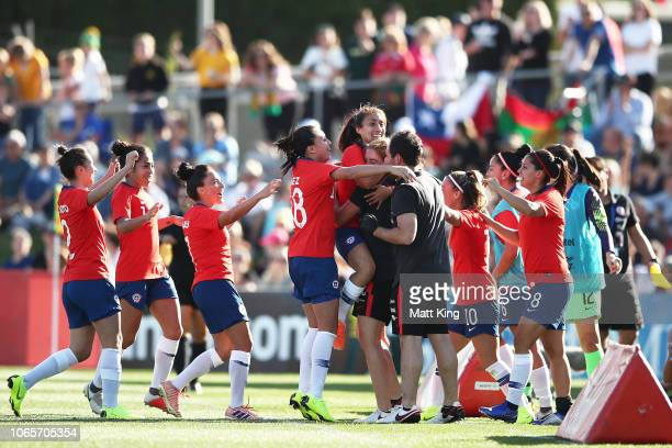Yesenia Huenteo of Chile celebrates with team mates after scoring a goal during the International Friendly match between the Australian Matildas and...