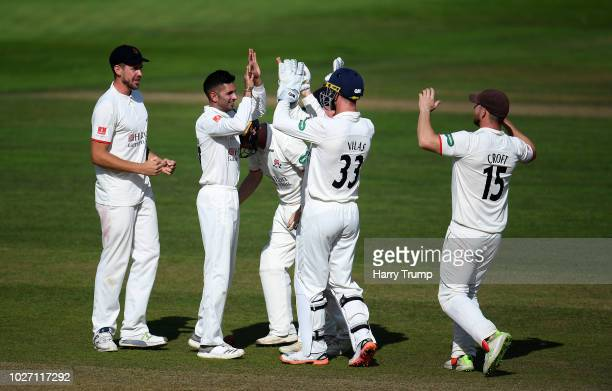 Yeshav Maharaj of Lancashire celebrates the wicket of Lewis Gregory of Somerset during Day Two of the Specsavers County Championship Division One...