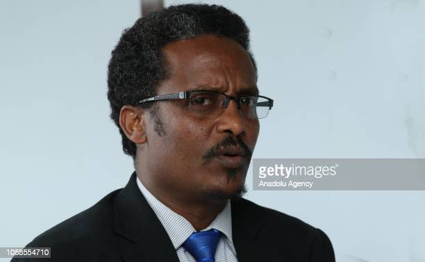 Yeshewas Assefa chairman of opposition Semayawi Party makes a speech on Prime Minister Abiy Ahmed in Addis Ababa Ethiopia on November 07 2018 Abiy...