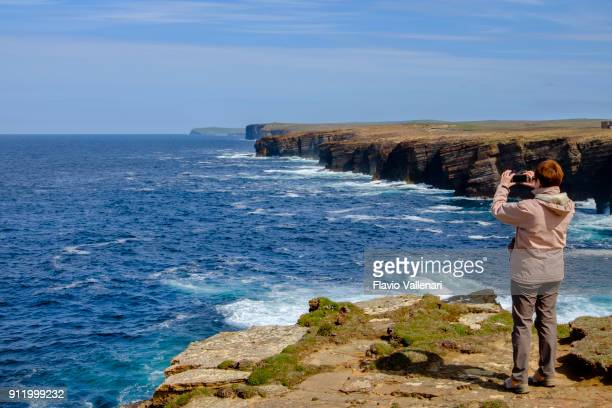 Yesnaby is an area well known for its spectacular old red sandstone coastal cliff scenery, located on the west coast of Orkney Mainland, Scotland.