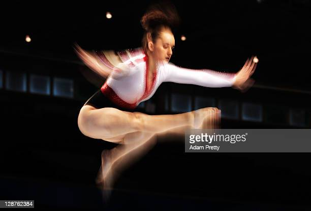 Yessenia Estrada of Mexico performs on the Beam aparatus in the Women's Qualification during the day one of the Artistic Gymnastics World...