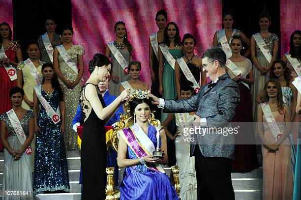 Yessenia of Iceland is crowned by the International Beauty Contest Organization Federation president Dennis Haggerty after winning the 37th Miss...