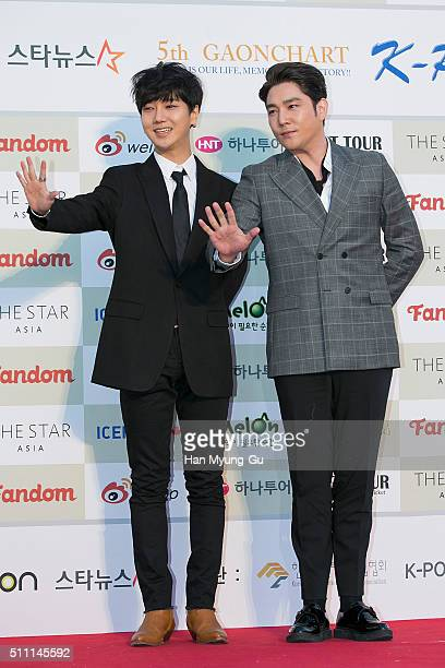 Yesung and Kangin of South Korean boy band Super Junior attend the 5th Gaon Chart KPop Awards on February 17 2016 in Seoul South Korea