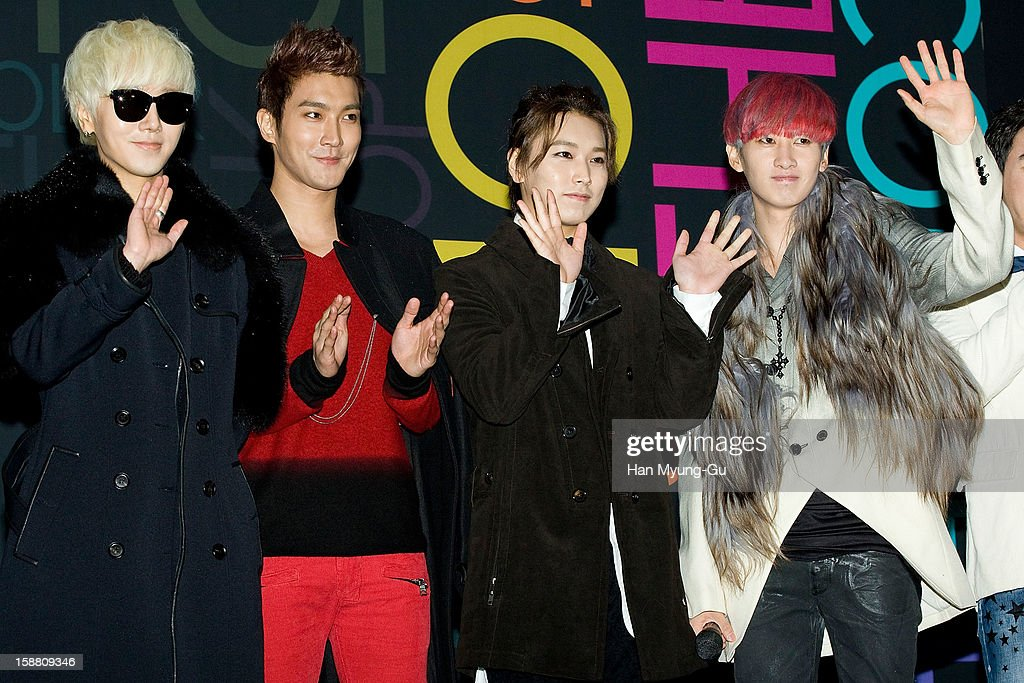 Yesung, Siwon (Choi Si-Won), Sungmin and Eunhyuk of South Korean boy band Super Junior arrive at the 2012 SBS Korea Pop Music Festival named 'The Color Of K-Pop' at Korea University on December 29, 2012 in Seoul, South Korea.