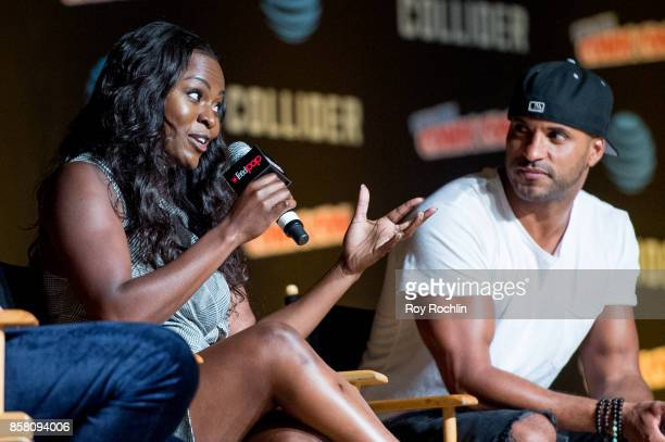 Yetide Badaki and discuss 'American Gods' during 2017 New York Comic Con Day 1 on October 5 2017 in New York City
