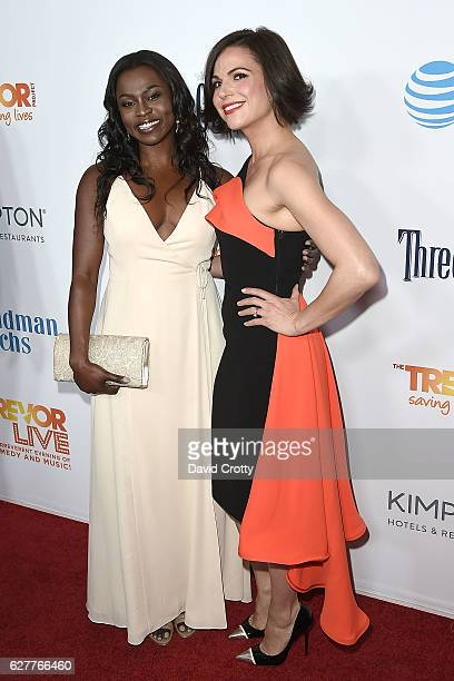 Yetide Badaki and Lana Parilla attend the TrevorLIVE Los Angeles 2016 Fundraiser Arrivals at The Beverly Hilton Hotel on December 4 2016 in Beverly...