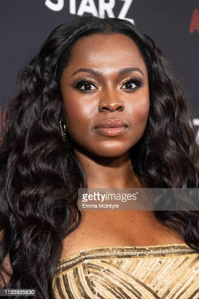 Yetide Badaki arrives at the premiere of STARZ's 'American Gods' Season 2 at Ace Hotel on March 05, 2019 in Los Angeles, California.