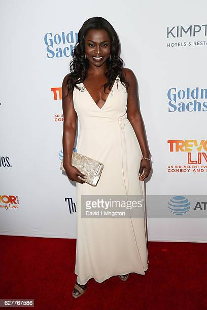 Yetide Badaki arrives at the TrevorLIVE Los Angeles 2016 Fundraiser at The Beverly Hilton Hotel on December 4 2016 in Beverly Hills California