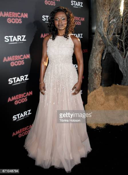 Yetide Badaki attends the premiere of Starz's 'American Gods' at ArcLight Cinemas Cinerama Dome on April 20 2017 in Hollywood California
