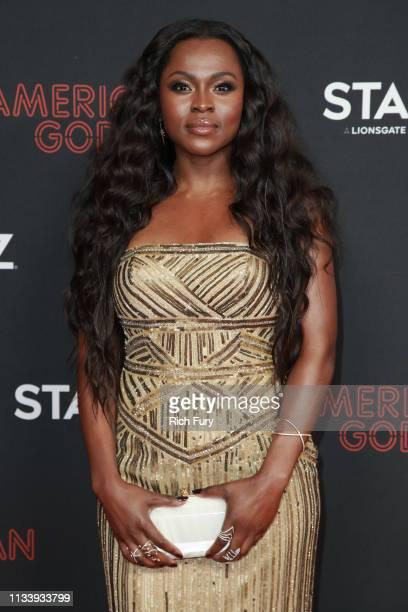 "Yetide Badaki attends the premiere of STARZ's ""American Gods"" season 2 at Ace Hotel on March 05, 2019 in Los Angeles, California."