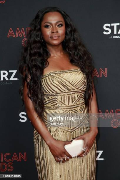 Yetide Badaki attends the premiere of STARZ's 'American Gods' season 2 at Ace Hotel on March 05 2019 in Los Angeles California
