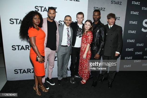 Yetide Badaki Ricky Whittle Omid Abtahi Bruce Langley Emily Browning Demore Barnes and Crispin Glover attend the 2019 Winter TCA Tour STARZ Red...
