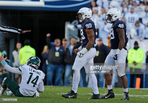 Yetur GrossMatos of the Penn State Nittany Lions celebrates against Brian Lewerke of the Michigan State Spartans on October 13 2018 at Beaver Stadium...