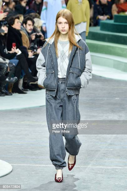 Yeva Podurian walks the runway during the Lacoste show as part of the Paris Fashion Week Womenswear Fall/Winter 2018/2019 on February 28 2018 in...