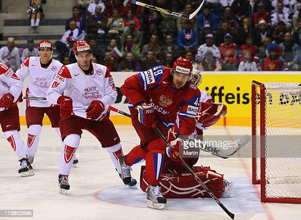 Yevgeni Artyukhin of Russia skates during the IIHF World Championship qualification match between Russia and Denmark at Orange Arena on May 5 2011 in...