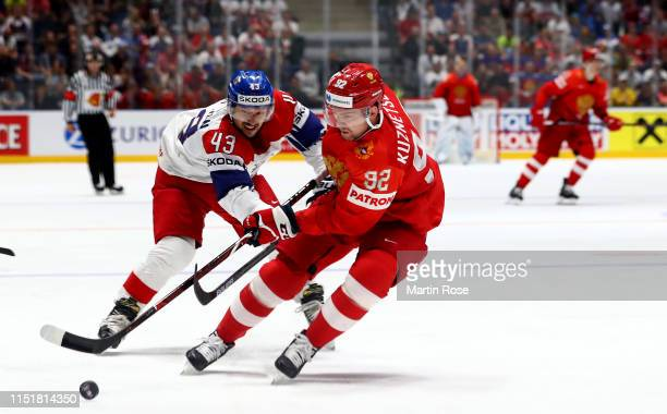 Yevgeni Kuznetsov of Russia challenges Jan Kovar of Czech Republic during the 2019 IIHF Ice Hockey World Championship Slovakia third place playoff...
