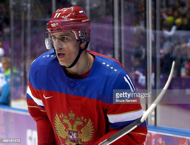 Yevgeni Malkin of Russia skates against Slovenia during the Men's Ice Hockey Preliminary Round Group A game on day six of the Sochi 2014 Winter...
