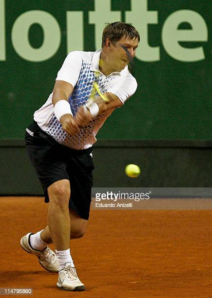 Yevgeny Kafaelnikov of Russia in action against Andres Gomez of Ecuador during the ATP Grand Champions Brazil at Sociedade Harmonica de Tenis on May...