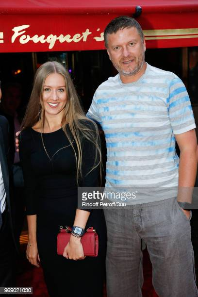 Yevgeny Kafelnikov and guest attend Diner des Legendes at Le Fouquet's on June 6 2018 in Paris France
