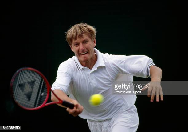 Yevgeny Kafelnikov of Russia in action during a men's singles match at the Wimbledon Lawn Tennis Championships in London circa June 1998 Kafelnikov...