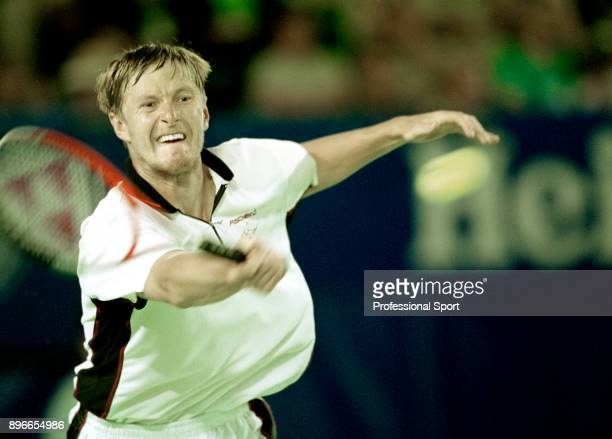 Yevgeny Kafelnikov of Russia in action during the Australian Open Tennis Championships at Flinders Park in Melbourne Australia circa January 2000