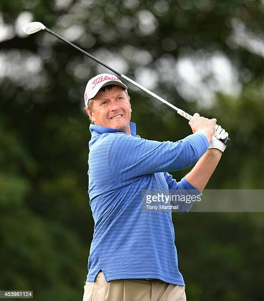 Yevgeny Kafelnikov of Russia plays his first shot on the 6th tee during day two of DD REAL Czech Masters at Albatross Golf Resort on August 22 2014...