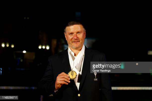 Yevgeny Kafelnikov poses for a picture after being inducted with the Class of 2019 in to the International Tennis Hall of Fame on July 20 2019 in...