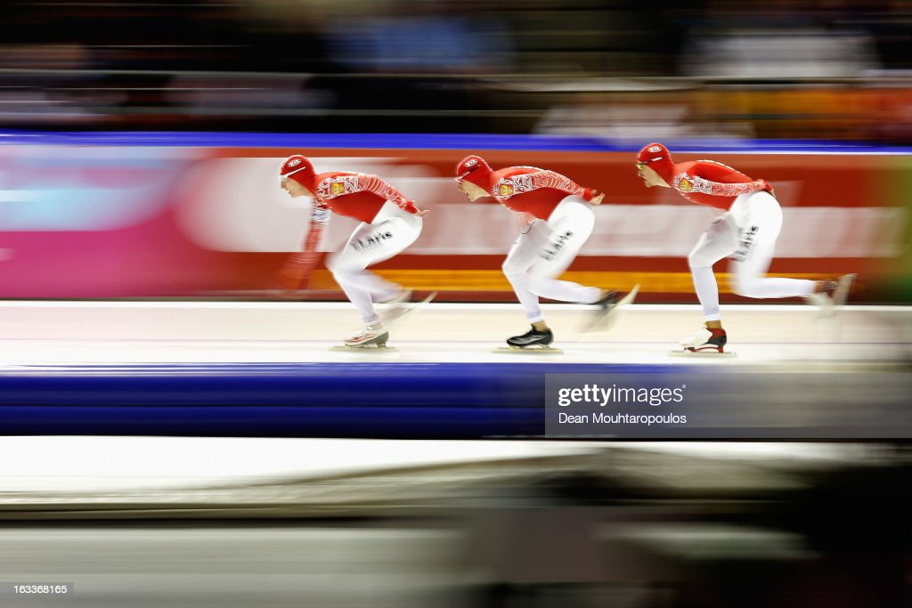 Yevgeny Lalenkov, Ivan Skobrev and Denis Yuskov of Russia compete in the Team Pursuit Men during Day 1 of the Essent ISU World Cup Speed Skating Championships 2013 at Thialf Stadium on March 8, 2013 in Heerenveen, Netherlands.
