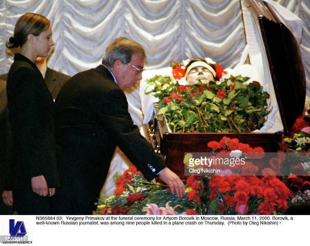 Yevgeny Primakov at the funeral ceremony for Artyom Borovik in Moscow, Russia, March 11, 2000. Borovik, a well-known Russian journalist, was among...