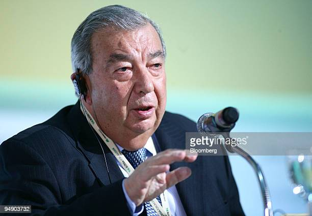 Yevgeny Primakov, president of the Russian Chamber of Commerce and Industry, speaks during the Russia Forum conference in Moscow, Russia, on...