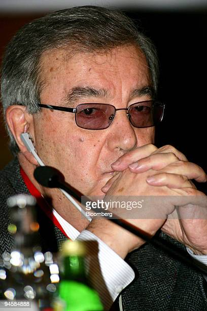 Yevgeny Primakov, Russian Federation Chamber of Commerce and Industry president, listens at the International Oil Forum in Moscow, Russia, on...