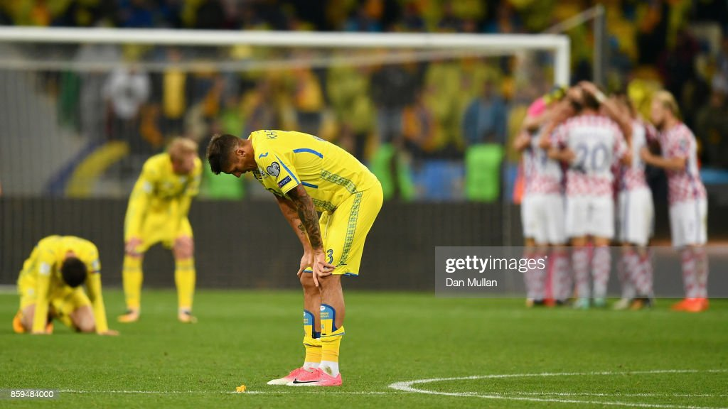 Yevhen Khacheridi of Ukraine looks dejected in defeat after the FIFA 2018 World Cup Group I Qualifier between Ukraine and Croatia at Kiev Olympic Stadium on October 9, 2017 in Kiev, Ukraine. Ukraine fail to reach the play-offs as they lose 2-0.